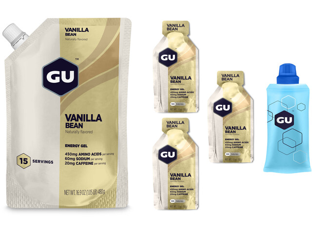 GU Energy Gel Kombipaket Vanilla Bean Vorratsbeutel 480g + Gel 3 x 32g + Flask